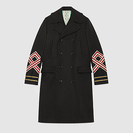 GUCCI - Wool coat with embroideries