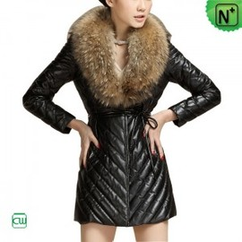 CWMALLS - Womens Fur Trimmed Leather Coats CW692305 - M.CWMALLS.COM