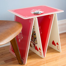 ModCloth - A La Card Table - Red, Dorm Decor, Quirky, Best, White, Multi, Novelty Print