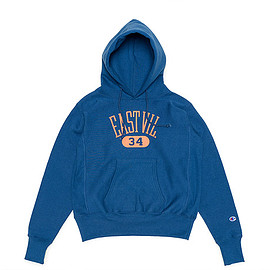 Champion - Reverse Weave Printed Sweat Parka-Ink Blue