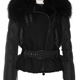 Moncler - Grace shearling-trimmed quilted shell down jacket