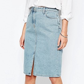 New Look - Split Front Denim Midi Skirt