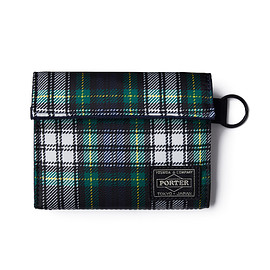 "HEAD PORTER - ""HIGHLAND"" WALLET (M) GREEN/WHITE"
