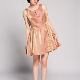 Lucca couture - metallic cut out peach dress