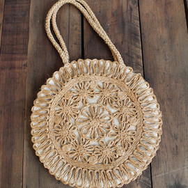 1960s Bag // Straw & Linen Summer Bag // vintage Sun Dial bag