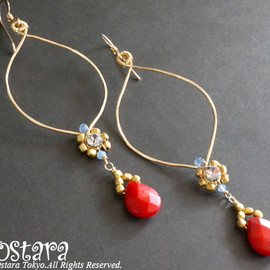 Ostara - 14K Gold Filled Hammered  Earrings/Red Coral,Sea Blue Chalcedony &Swarovski