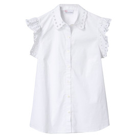 RED Valentino - SANGALLO EMBROIDERED STRETCH POPLIN BLOUSE