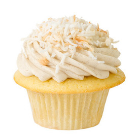 Prairie Girl Bakery - Golden Buttermilk Cupcakes With Vanilla Icing topped with toasted coconut