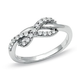 /4 CT. T.W. Diamond Infinity Ring in 10K White Gold - Pinned Image