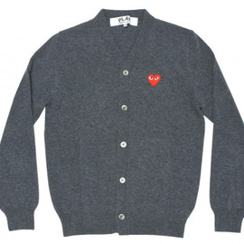 COMME des GARCONS - Red Play Men's Cardigan (Grey)