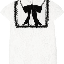 Alice + Olivia - Vanetta silk-chiffon and velvet-trimmed cotton-blend lace blouse