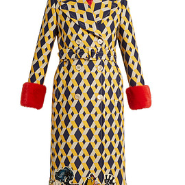 GUCCI - Resort 2017 Geometric-print fur-trimmed wool-blend coat