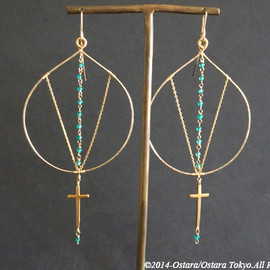 Ostara - 14K Gold Filled Hammered Hoop Earrings/16KGP Mat Gold Cross & Gemstone Green Agate