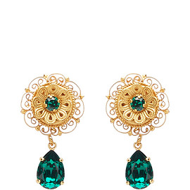 DOLCE&GABBANA - SS2016 Green Crystal Earrings