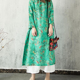 green Floral dresses - Women Loose green Floral dresses,Pullover dresses, women Floral long gown vintage gown