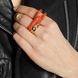 VIRZI+DE LUCA - Enameled gold-plated lobster ring