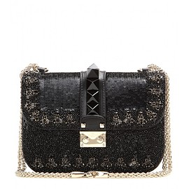 VALENTINO - Pre-Fall 2015 Lock Small embellished leather shoulder bag
