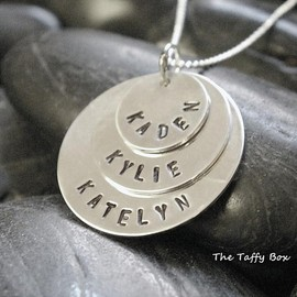 Luulla - 3 Disc Layered Sterling Silver Hand Stamped Necklace