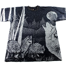 VINTAGE - Vintage 90s Howling Wolf Night Scene Shirt Made in USA Mens Size Large