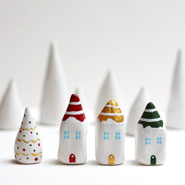 rodica - Christmas clay houses - Little Christmas village with 3 striped houses and a white tree
