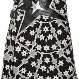 miu miu - Leather-appliqued linen and cotton-blend wrap skirt