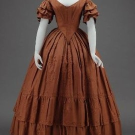 Dinner Dress 1840, American, Made of silk