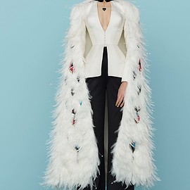 Ulyana Sergeenko - SS2015 Haute Couture Hand embroidered cape decorated with feathers, fitted jacket and silk trousers