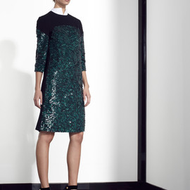 Vionnet - Black dress, with green embroideries on front, ¾ length sleeves