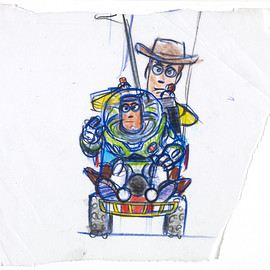 bailey blue - Woody and Buzz / Toy Story, 1995 / Reproduction of marker and pencil on paper