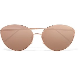 Linda Farrow - Round-frame rose gold-tone mirrored sunglasses