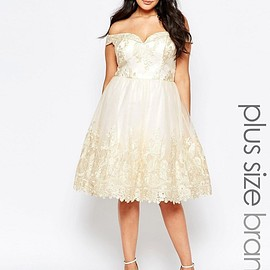 ASOS - Image 1 of Chi Chi London Plus Lace Bardot Prom Dress