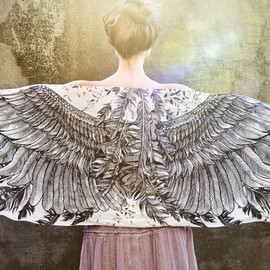 Shovava - White Cotton Women scarf, Hand painted Wings and feathers, stunning unique and useful, perfect gift