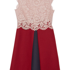 VALENTINO - Lace and wool and silk-blend crepe mini dress