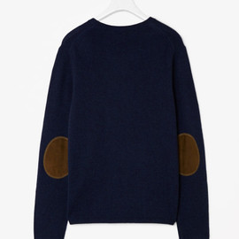 COS - Cos Cashmere Knit in Blue for Men (Navy with tan suede patches)