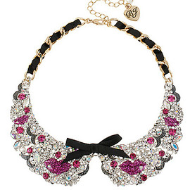 Betsey Johnson - Antiqued Gold Tone Pink Lips Black Ribbon Collar Necklace