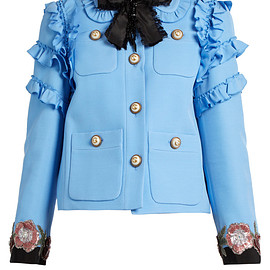 GUCCI - Ruffle-trimmed cotton-blend cady jacket