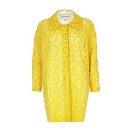 River Island - YELLOW FLORAL EMBROIDERED COAT(River Island)