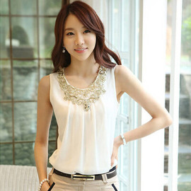 Sleeveless Scoop Neck Chiffon Ruffled Ladylike Style Blouse For Women