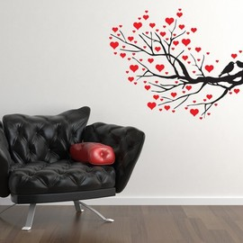 VinylWallAccents - Valentine Love Birds on Branch with Hearts