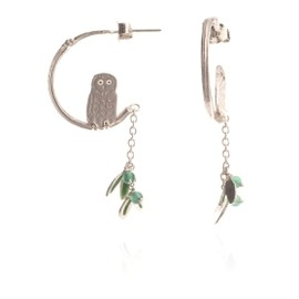 Tiny Bird In Tree Earrings