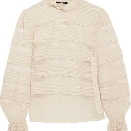Isabel Marant - Sondra pintucked silk-georgette and lace turtleneck blouse
