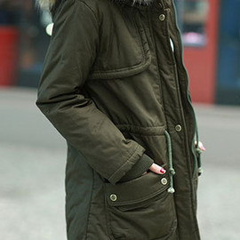 fashion - Frock Drawstring Belt Hooded Military Inspired Casual Thicken Large Size Outerwear