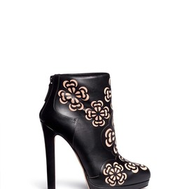 Alexander McQueen - FLORAL PERFORATION LEATHER ANKLE BOOTS