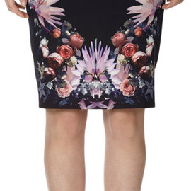 GIVENCHY - Graphic Rose Print Pencil Skirt