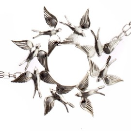 jenniferyijewelry - Circling Swallows Necklace by