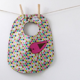 Luulla - Appliqued Birdie Baby Bib - Perfect Baby Shower Gift!