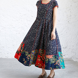 maxi dress - Summer loose fitting maxi dress Women Long dress in dark blue wine red