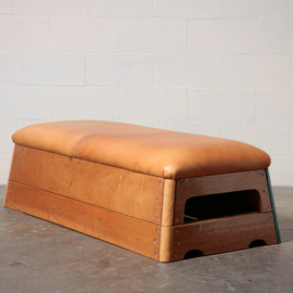 Vintage Leather Gymnastic Horse Bench or Coffee Table