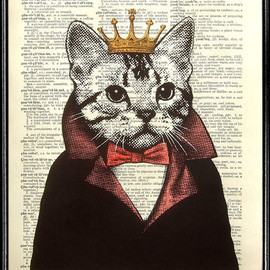 popcapopca - Cat Art Print - Cat King