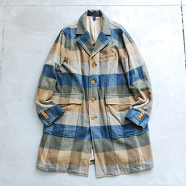 ts(s) - Brushed Block Plaid Wool Cloth Single Chesterfield Coat